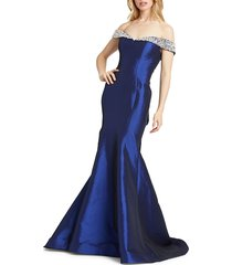 mac duggal women's off-the-shoulder trumpet gown - midnight - size 18