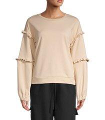 lea & viola women's ruffle-trim sweatshirt - white - size s