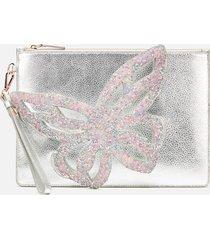 sophia webster women's flossy butterfly embellished pouchette bag - silver
