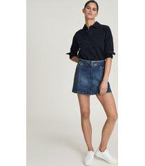 reiss kaleigh - denim mini skirt in mid blue, womens, size 14