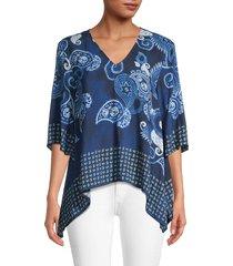 karen kane women's paisley-print asymmetrical top - blue paisley print - size s