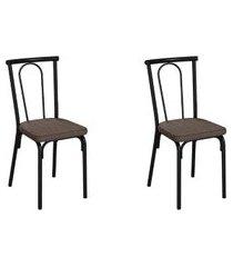 conjunto com 2 cadeiras albury marrom e preto