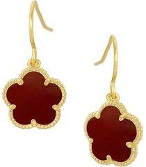 jan-kou women's flower goldplated & coral agate dangle earrings