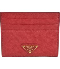 prada saffiano triangle logo card holder
