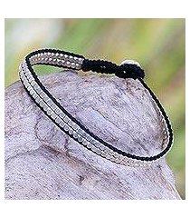 sterling silver beaded bracelet, 'shimmering path in black' (indonesia)