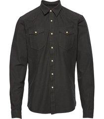 cotton pocket shirt l/s skjorta casual svart shine original