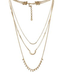 "lucky brand gold-tone zig-zag convertible layered necklace, 16"" + 3"" extender"