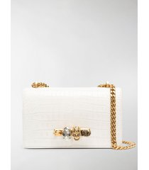 alexander mcqueen jewelled embossed shoulder bag