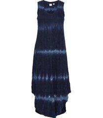 scoopneck tie-dye midi dress knälång klänning blå gap