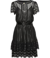 lux metal lace dress korte jurk zwart michael kors
