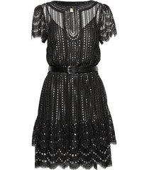 lux metal lace dress korte jurk zwart michael kors