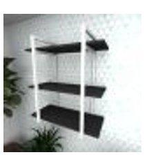 prateleira industrial para sala aço branco prateleiras 30 cm preto modelo indb09psl