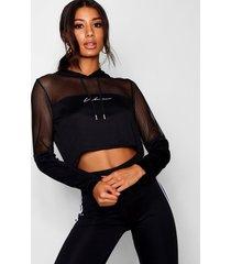fit 'woman' mesh panel crop hoodie, black