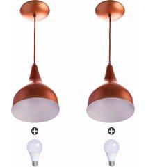 2 lustres pendente gota pequena alumínio 21cm cobre + lampad