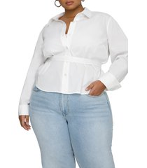 plus size women's good american belted button-up shirt, size 6 - white