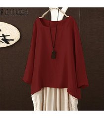 zanzea mujeres corte cuadrado de cuello de manga larga sólido tapas de la camisa de la blusa de gran tamaño tee -rojo