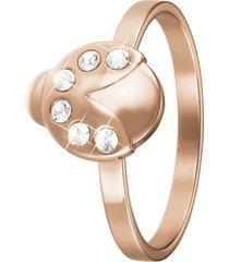 anello coccinella in acciaio rosato e cristalli per donna