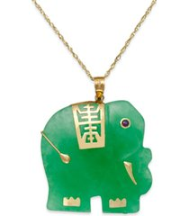 dyed jade elephant pendant necklace in 14k gold (25mm)
