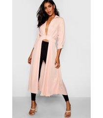 maxi blouse met split en laag uitgesneden decolleté, blush