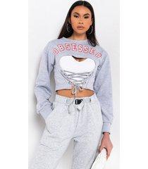 akira obsessed rhinestone lace up sweatshirt