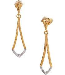 18k white gold, 24k yellow gold & diamond drop earrings