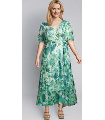 lane bryant women's layered floral midi dress 14 green & blue floral