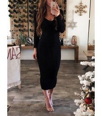 backless design scoop neck long sleeves knit dress