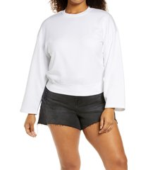 good american drop shoulder sweatshirt, size 3 in white001 at nordstrom