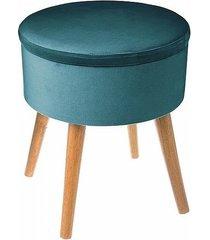 stołek welurowy pufa ze schowkiem navy green