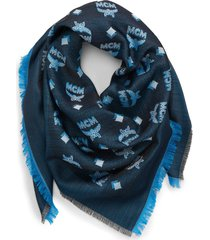 mcm square monogram jacquard silk & wool scarf in black beauty at nordstrom