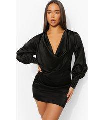 mini jurk met extreme col, black