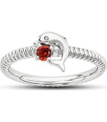wonderful dolphin engagement ring in red garnet 14k white gold plated 925 silver