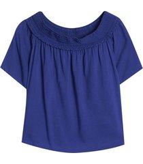 blusa con detalle en cuello color azul, talla 10