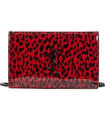 women's saint laurent kate leopard patent wallet on a chain -