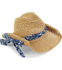 san diego hat company women's braided cowboy bandana hat - natural