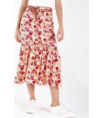 falda midi para mujer con botones y estampado floral