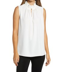 women's ming want pleated neck sleeveless blouse