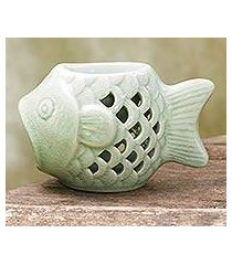 ceramic oil warmer, 'hello fish' (thailand)
