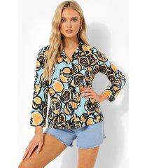 blouse met korte mouwen en abstracte print, blue
