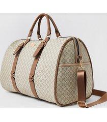 river island womens beige ri monogram large weekend duffle bag