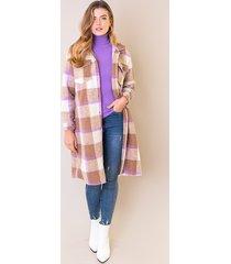 woven coat geblokt camel lila