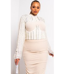 akira plus stop the world rhinestone and pearl cropped shrug