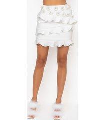 akira heaven sent mini skirt with flower applique