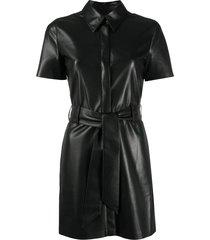 nanushka faux-leather shirt dress - black