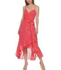eliza j printed high-low midi dress