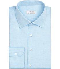 camicia da uomo su misura, grandi & rubinelli, azzurra cotone lino, primavera estate | lanieri