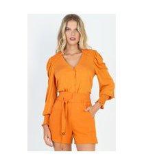 blusa manga longa com abotoamento e detalhe de lastex laranja laranja