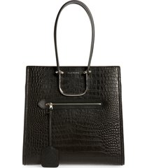 alexander mcqueen the tall story croc embossed leather tote - black