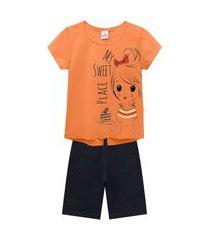 conjunto infantil abrange menina bolo alaranjado e preto abrange casual laranja