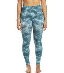 free people women's good karma tie dye yoga leggings - blue green x-small/small spandex